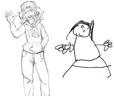 What my brain thinks I can draw versus what I actually can draw.  **Exaggeration -- I can actually draw better than that.