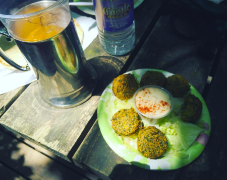 Italian soda and a falafel plate for lunch.