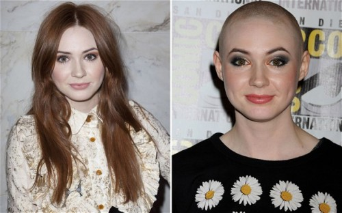 Karen Gillan, before and after shaving her head. Credit: telegraph.co.uk